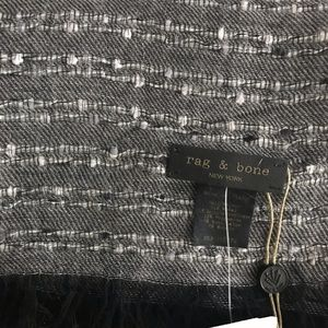 rag & bone Grey and White Scarf with Black Fringe